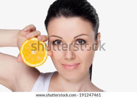 Beautiful close-up portrait of young woman with oranges. Healthy food concept. Skin care and beauty. Vitamins and minerals. #191247461