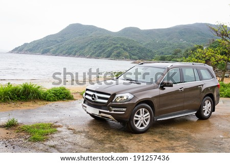 Hong Kong, China April 26, 2013 : Mercedes-Benz GL 500 Off Road Car test drive on April 26 2013 in Hong Kong. #191257436