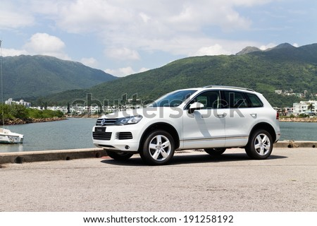 Hong Kong, China SEPT 25, 2013 : Volkswagen Touareg SUV test drive on SEPT 25 2013 in Hong Kong. #191258192