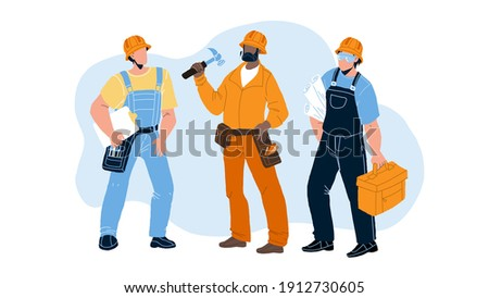 Builders With Building Equipment And Plan Vector. Builders Men Wearing Uniform And Protection Hat Holding Tool Box And Build Documentation Draft. Characters Foremen Flat Cartoon Illustration Royalty-Free Stock Photo #1912730605