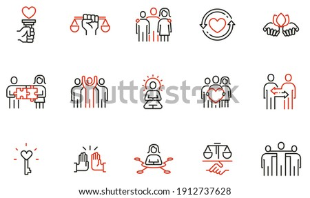 Vector Set of Linear Icons Related to Harmony to Relationships, Interaction, Joint Development and Equality. Mono Line Pictograms and Infographics Design Elements - part 2 Royalty-Free Stock Photo #1912737628