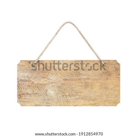 wooden sign with rope isolated on white, clipping path included.