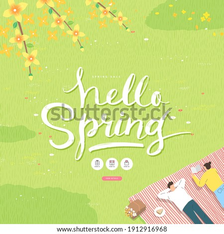 Spring sale template with beautiful flower. Vector illustration  Royalty-Free Stock Photo #1912916968