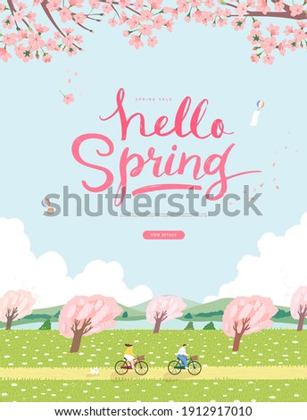 Spring sale template with beautiful flower. Vector illustration  Royalty-Free Stock Photo #1912917010