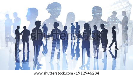 Silhouettes of business people working and rushing in office at night time. Work hard and business development concept. Double exposure