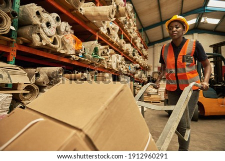 Young African female worker walking with a dolly of boxes around the floor of a textile warehouse Royalty-Free Stock Photo #1912960291