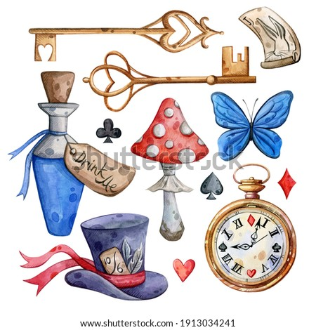 Watercolor hand painted Alice in Wonderland set. Key, clock, mushroom. Illustration isolated on white background. Use it for postcards, invitations, and scrapbooking.
