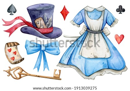 Watercolor hand painted Alice in Wonderland set. Key, clock, dress. Illustration isolated on white background. Use it for postcards, invitations, and scrapbooking.