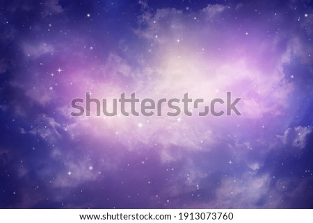 Space of night sky with cloud and stars. Royalty-Free Stock Photo #1913073760