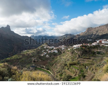 Picturesque Canarian village Tejeda in mountain valley scenery and view of bentayga rock Gran Canaria, Canary Islands, Spain Royalty-Free Stock Photo #1913113699