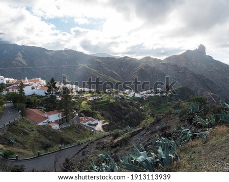 Picturesque Canarian village Tejeda in mountain valley scenery and view of bentayga rock Gran Canaria, Canary Islands, Spain Royalty-Free Stock Photo #1913113939