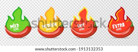Spicy hot red chili pepper icons set with flame and rating of spicy. Vector spicy food level sticker collection, mild, medium hot and extra hot level of pepper sauce or snack food Royalty-Free Stock Photo #1913132353