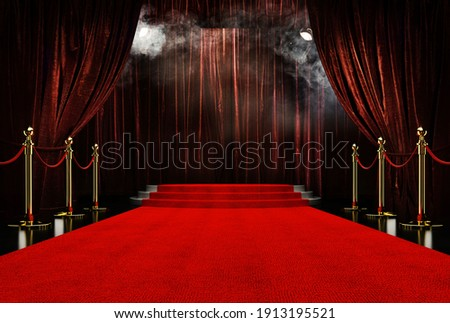 Red Stage background party red carpet background    Royalty-Free Stock Photo #1913195521