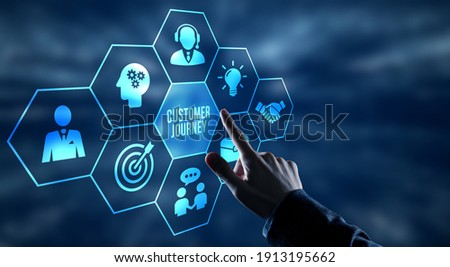 Internet, business, Technology and network concept. Inscription Customer journey on the virtual display Royalty-Free Stock Photo #1913195662