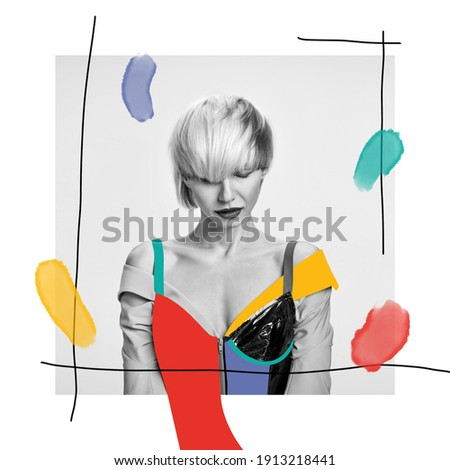 Stylish haircut, hait style. Fashionable look, watercolor. Modern design, contemporary art collage. Inspiration, idea, trendy urban magazine style. Negative space to insert your text or ad. Royalty-Free Stock Photo #1913218441
