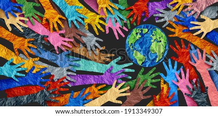 International diversity or earth day and international world culture as a concept of diversity and crowd cooperation symbol as diverse hands holding together the planet earth. Royalty-Free Stock Photo #1913349307