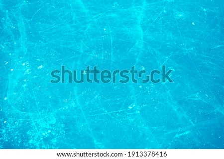 Ice rink floor. Background texture of blue ice rink. top view.