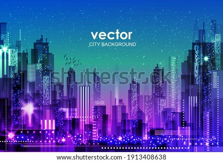 Urban vector cityscape at night. Skyline city silhouettes. City background with architecture, skyscrapers, megapolis, buildings, downtown. Royalty-Free Stock Photo #1913408638