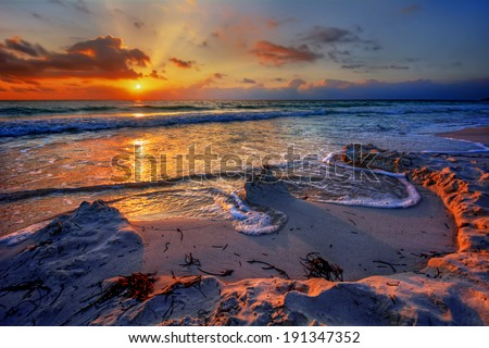 Magnificently colorful beach vacation sunrise 3 #191347352