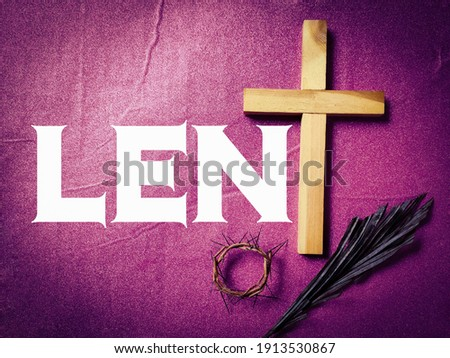 Lent Season,Holy Week and Good Friday Concepts - word LENT with purple vintage background. Stock photo.