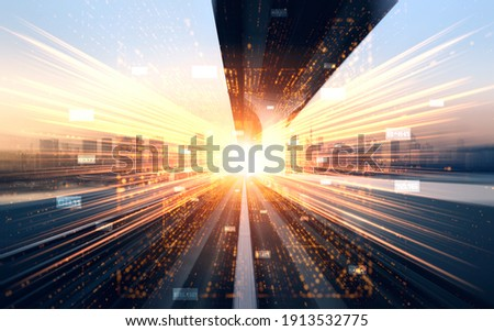 Digital data flow on road with motion blur to create vision of fast speed transfer . Concept of future digital transformation , disruptive innovation and agile business methodology . Royalty-Free Stock Photo #1913532775
