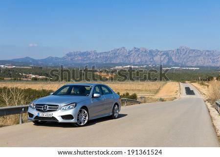 Barcelona,Spain Feb 20, 2013 : Mercedes-Benz E-Class test drive on Feb 20 2013 in Barcelona,Spain. #191361524