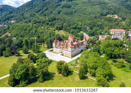Graz, Austria. Eggenberg Palace (Schloss Eggenberg) - the largest aristocratic residence in Styria is listed as a World Heritage Site. Construction was completed by 1646, Aerial View Royalty-Free Stock Photo #1913615287