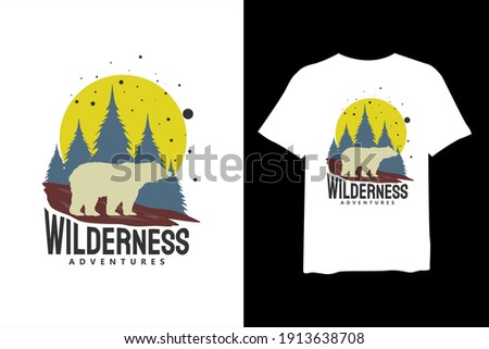 Wilderness Adventure, and outdoor adventure, and vintage t-shirt design and typography lettering, print, vector, illustration design. Royalty-Free Stock Photo #1913638708