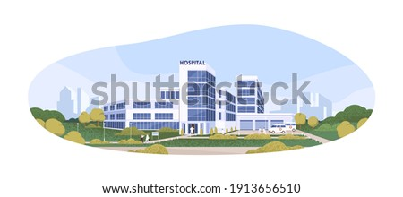 Modern building of public hospital or clinic with ambulances and patients. Exterior of municipal medical center. Colored flat cartoon vector illustration isolated on white background Royalty-Free Stock Photo #1913656510