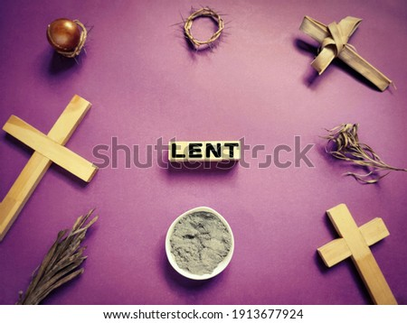 Lent Season,Holy Week and Good Friday Concepts - LENT with purple vintage background. Stock photo.