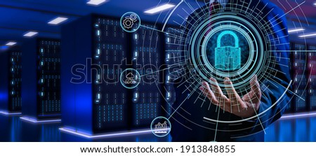 Fingerprint scan provides security access with biometrics identification.Futuristic Technology in smart business high efficiency using ai artificial intelligence,RPA,5g,big data,iot,vr,mixed virtual. Royalty-Free Stock Photo #1913848855