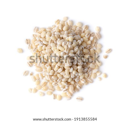pile of pearl barley isolated on white background Royalty-Free Stock Photo #1913855584