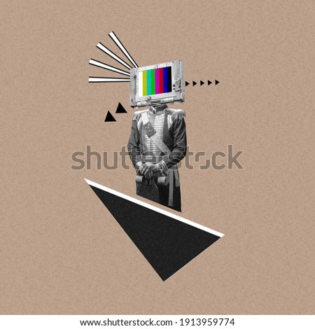 New ideas. Renaissanse man headed by old TV isolated on background. Negative space to insert your text. Modern design. Contemporary colorful and conceptual bright art collage, art collage. Visual art. Royalty-Free Stock Photo #1913959774