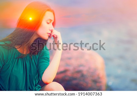 Soul energy, mental health nature therapy, spiritual life power, calm inner peace concept Double exposure abstract body of happy free young woman, closed eyes head. Healthy relax in sunrise sun light Royalty-Free Stock Photo #1914007363