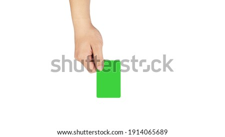 Business card giving with green screen for mock and white background, for business use purpose