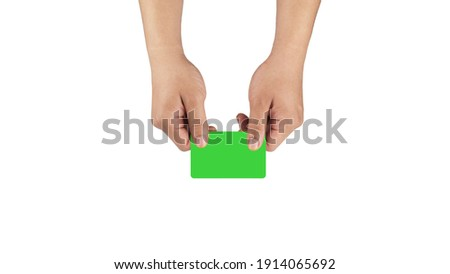 Business card giving with two hands, a green screen for mock and white background, for business use purpose