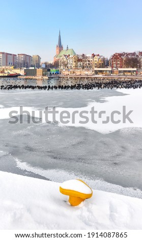 Szczecin waterfront with frozen Odra River in winter, Poland. Royalty-Free Stock Photo #1914087865
