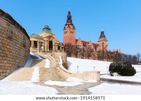 Chrobry Embankment, previously known as Haken Terrace in winter, Szczecin, Poland. Royalty-Free Stock Photo #1914158971