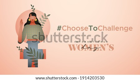 International Women's Day greeting card illustration. Choose to challenge campaign design for female rights event. Beautiful young woman with tropical leaf nature decoration. Royalty-Free Stock Photo #1914203530