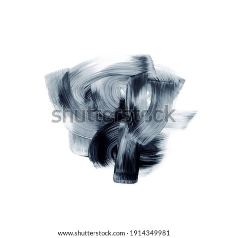 Abstract Grunge Brush strokes curves isolated on white background, texture Royalty-Free Stock Photo #1914349981