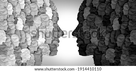 Divided social groups and culture war between conservative and liberal political clash of ideas or community psychology. Royalty-Free Stock Photo #1914410110