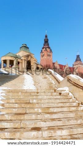 Chrobry Embankment, previously known as Haken Terrace in winter, Szczecin, Poland. Royalty-Free Stock Photo #1914424471
