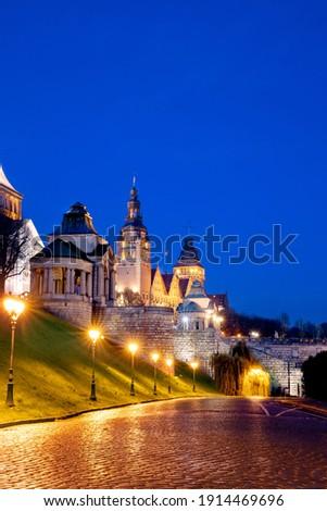 Beautiful Szczecin by night chrobry embankment Royalty-Free Stock Photo #1914469696