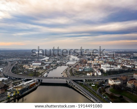 Drone View over Szczecin - odra river Royalty-Free Stock Photo #1914491080