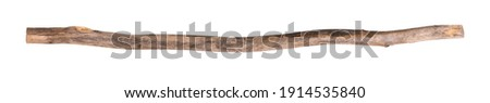 broomstick,dirty wooden stick isolated on white background Royalty-Free Stock Photo #1914535840