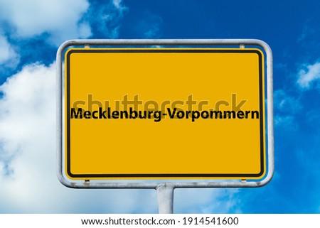 "Sign Mecklenburg Western Pomerania german ""Mecklenburg-Vorpommern"" Royalty-Free Stock Photo #1914541600"