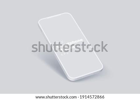 Modern clay mockup smartphone for presentation, information graphics, app display, eps vector format.