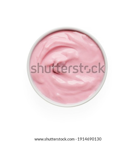 Strawberry yogurt in white bowl isolated on white background, top view Royalty-Free Stock Photo #1914690130