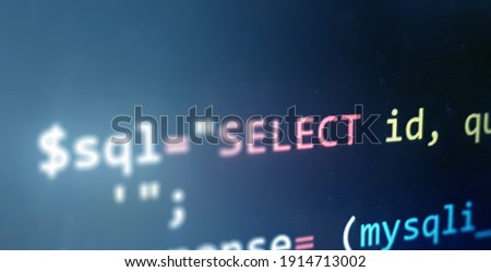 Colorful programming php and html code on a monitor. PHP language code closeup. Backend programming, software development concept background