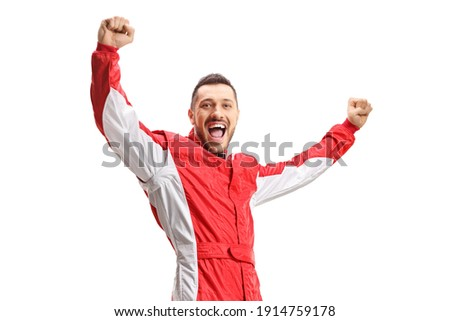 Racer in a red uniform gesturing happiness isolated on white background Royalty-Free Stock Photo #1914759178
